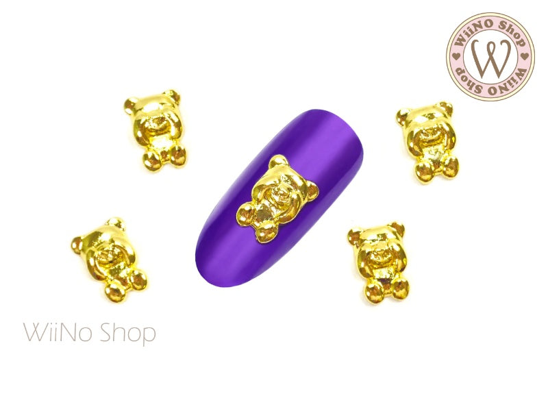 Shy Teddy Bear Nail Metal Charm - 2 pcs
