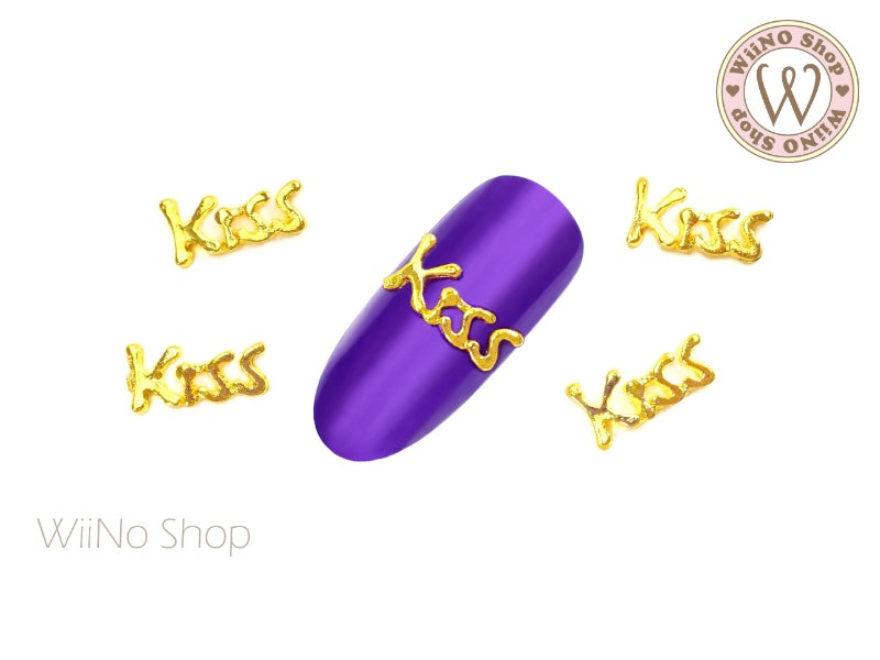 Gold Kiss Nail Metal Charm - 2 pcs