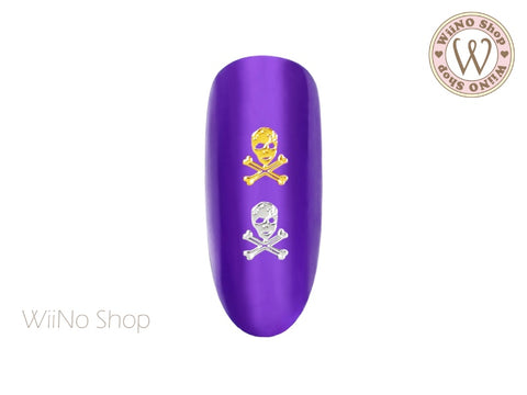 Skull Crossbones Ultra Thin Nail Art Metal Decoration - 25 pcs