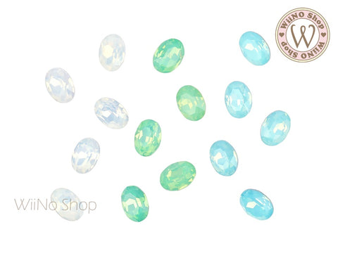 6 x 8mm Opal Oval Point Back Crystal - 5 pcs