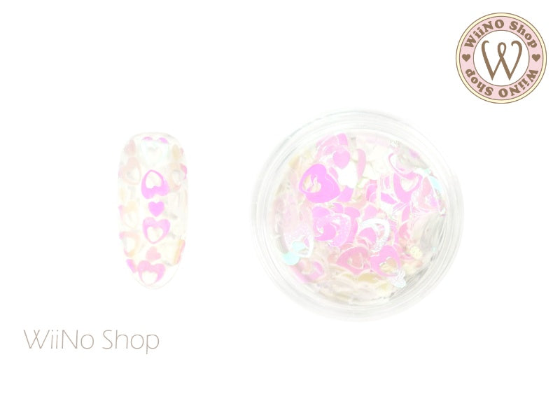 4mm Pink Dream White Hollow Heart Glitter