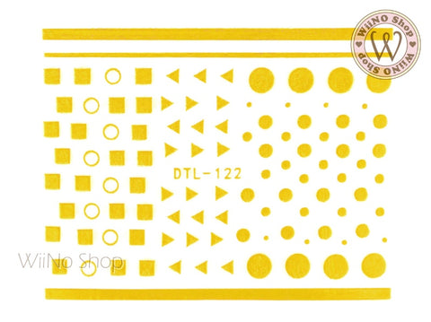 Gold Geometric Shapes Nail Art Sticker - 1 pc (DTL-122G)