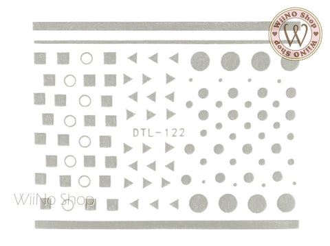 Silver Geometric Shapes Nail Art Sticker - 1 pc (DTL-122S)