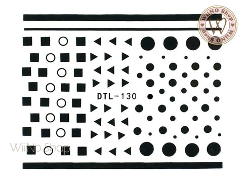 Black Geometric Shapes Nail Art Sticker - 1 pc (DTL-130B)