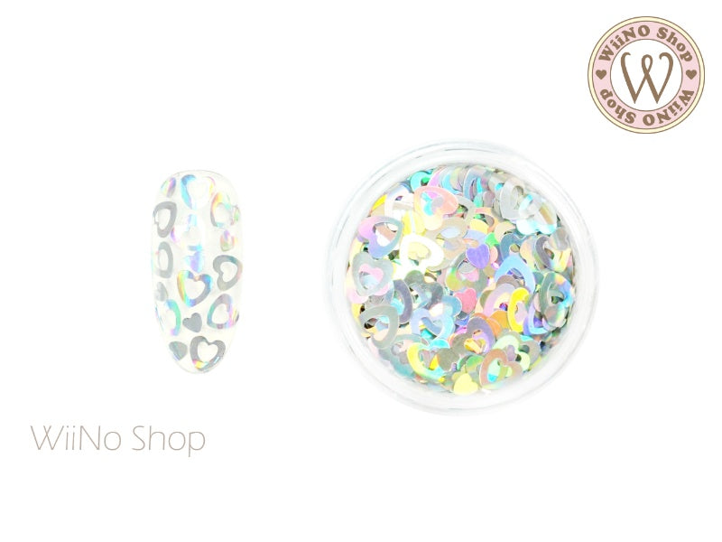 4mm Silver Holographic Hollow Heart Glitter