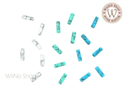 8 x 3mm Rectangle Turquoise Gemstone Cabochon - 10 pcs