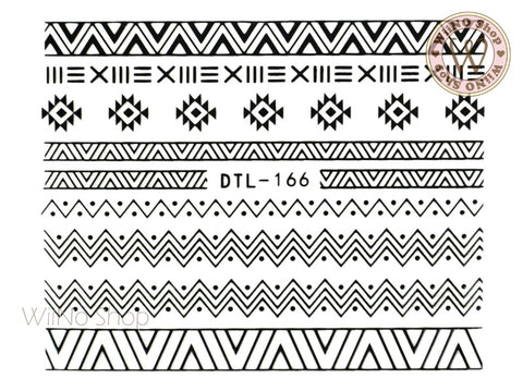 Black Tribal Pattern Nail Art Sticker - 1 pc (DTL-166B)