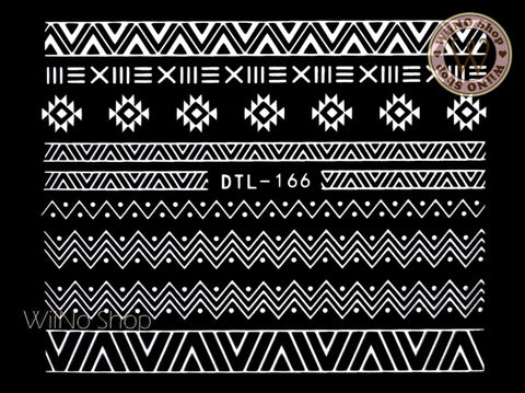 White Tribal Pattern Nail Art Sticker - 1 pc (DTL-166W)