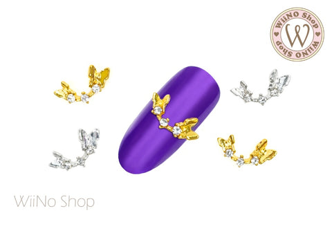 Butterfly Crystal Curve Nail Metal Charm - 2 pcs