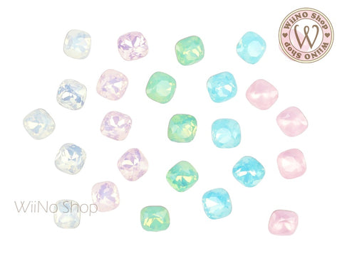 6mm 8mm Opal Rounded Square Point Back Crystal - 5 pcs