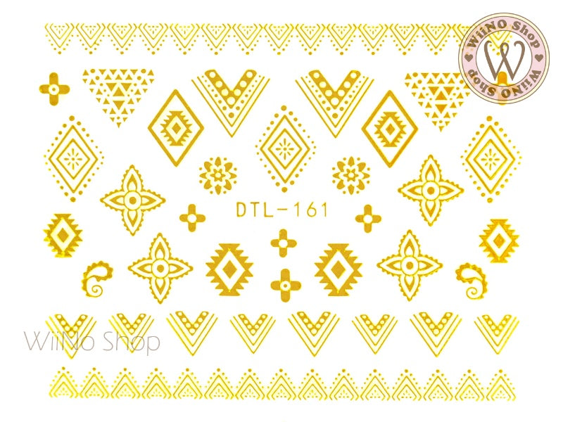 Gold Tribal Lace Pattern Nail Art Sticker - 1 pc (DTL-161G)