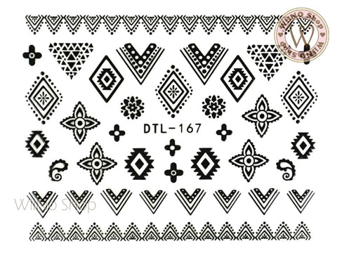 Black Tribal Lace Pattern Nail Art Sticker - 1 pc (DTL-167B)