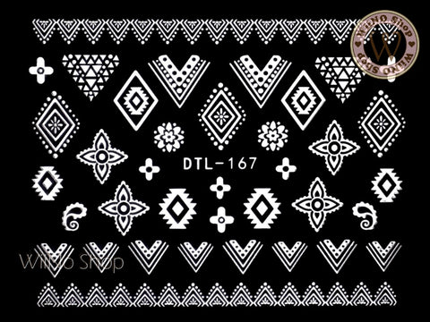 White Tribal Lace Pattern Nail Art Sticker - 1 pc (DTL-167W)