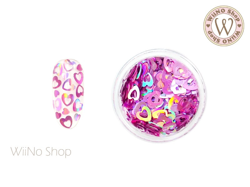 4mm Magenta Pink Holographic Hollow Heart Glitter