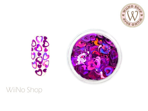 4mm Purple Holographic Hollow Heart Glitter