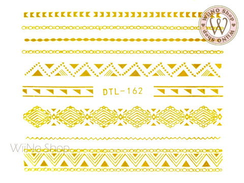Gold Pattern Chain Line Nail Art Sticker - 1 pc (DTL-162G)
