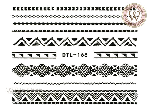 Black Pattern Chain Line Nail Art Sticker - 1 pc (DTL-168B)