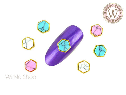 Hexagon Turquoise Gemstone Nail Metal Charm - 2 pcs