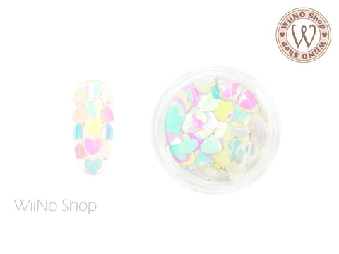 4mm Rainbow Dream White Heart Glitter