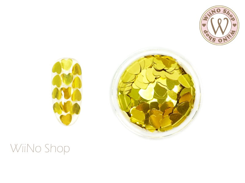 4mm Gold Heart Glitter