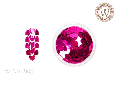 4mm Fuchsia Heart Glitter