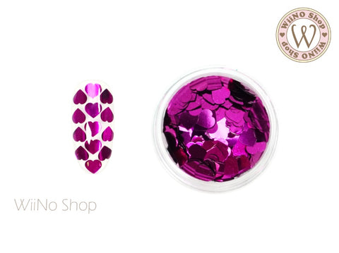 4mm Dark Magenta Heart Glitter