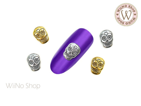 Antique Sugar Skull Nail Metal Charm - 2 pcs