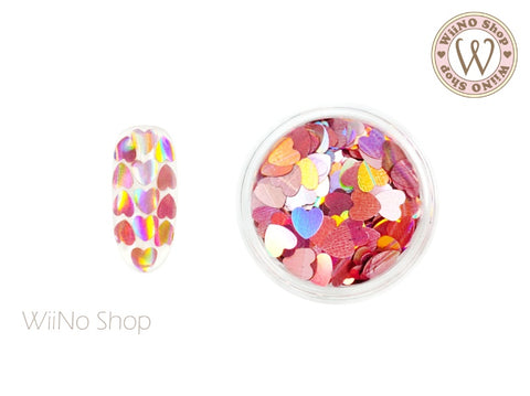 4mm Pink Holographic Heart Glitter