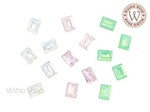6 x 8mm Opal Rectangle Point Back Crystal - 5 pcs