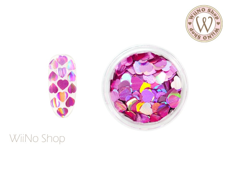 4mm Magenta Pink Holographic Heart Glitter