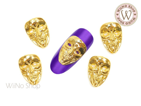 Gold Mask Nail Metal Charm - 2 pcs