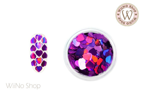 4mm Purple Holographic Heart Glitter