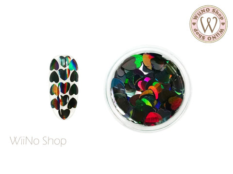 4mm Black Holographic Heart Glitter