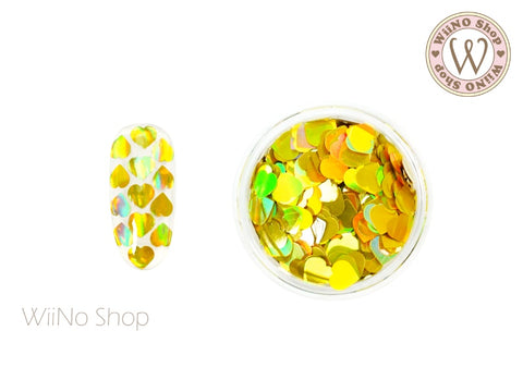 4mm Gold Holographic Heart Glitter