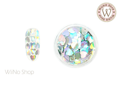 4mm Silver Holographic Heart Glitter