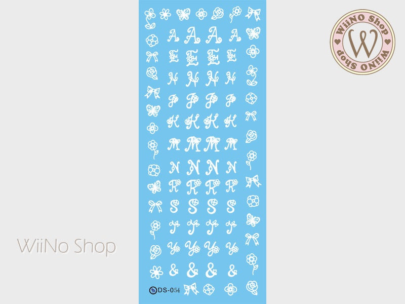 White Flower Letter Fonts Water Slide Nail Art Decals - 1 pc (DS-054)
