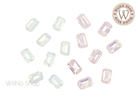 4 x 6mm Opal Octagon Point Back Crystal - 5 pcs