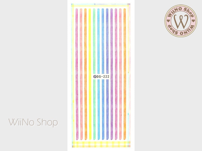 Watercolor Stripe Water Slide Nail Art Decals - 1 pc (DS-222)