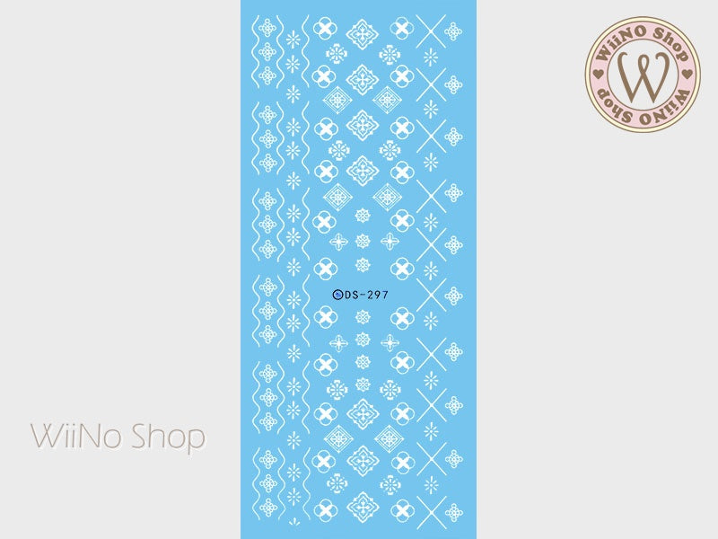 White Geometric Floral Pattern Water Slide Nail Art Decals - 1 pc (DS-297)
