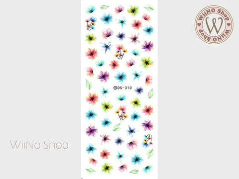 Colorful Watercolor Flower Water Slide Nail Art Decals - 1 pc (DS-310)