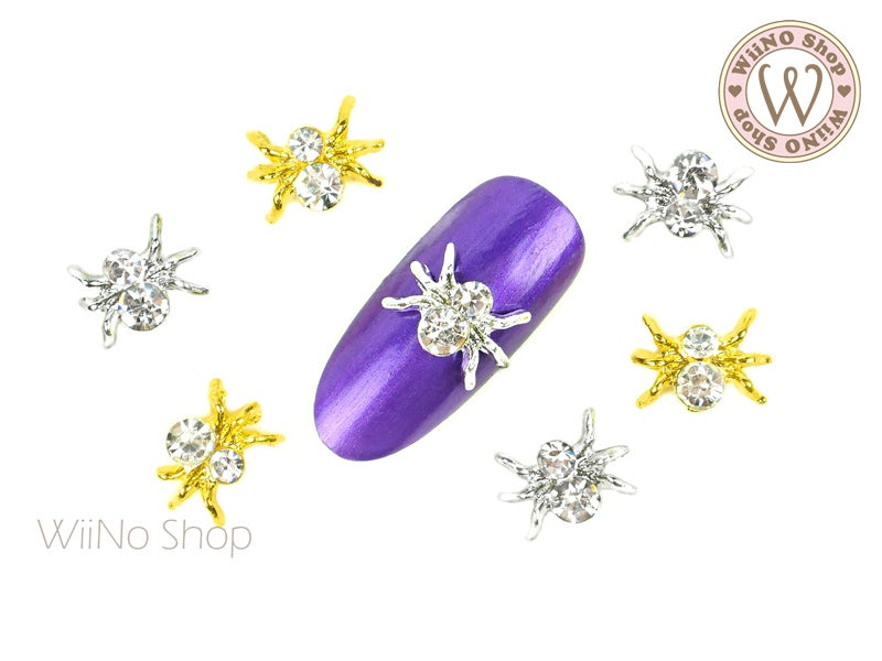 Clear Crystal Spider Nail Metal Charm - 2 pcs