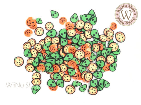 Alien Pumpkin Mixed Polymer Fimo Slices Nail Art Decoration