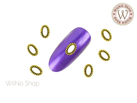 Oval Antique Gold Bohemian Nail Metal Charm - 2 pcs