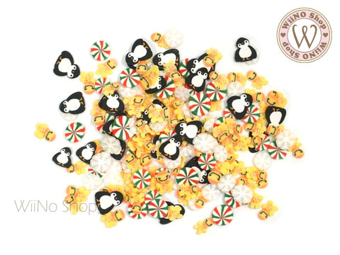 Gingerbread Penguin Mixed Polymer Fimo Slices Nail Art Decoration