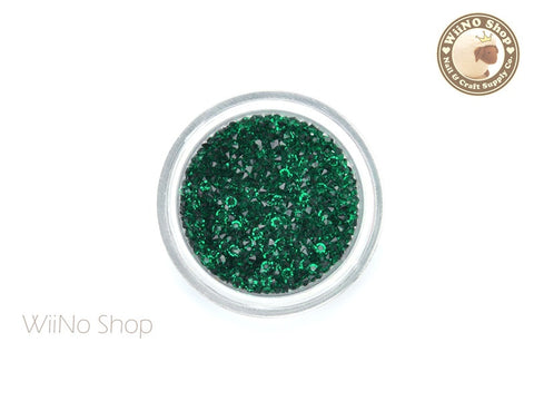 Dark Green Round Point Back Micro Crystal