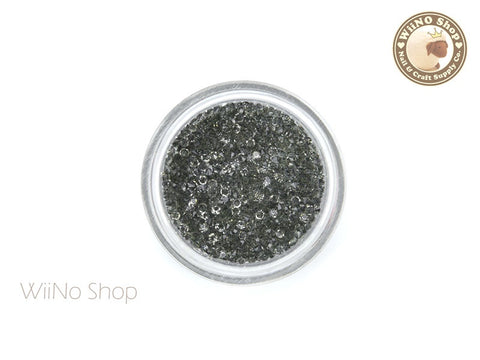 Smokey Gray Round Point Back Micro Crystal