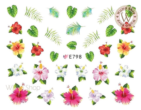 E798 Hibiscus Leaves Adhesive Nail Art Sticker - 1 pc