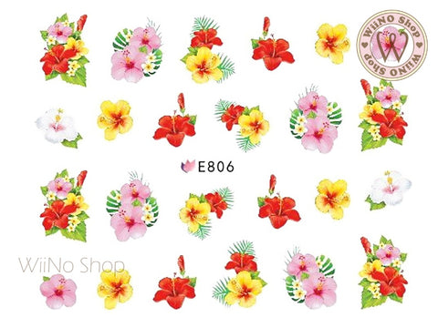 E806 Hibiscus Bouquet Adhesive Nail Art Sticker - 1 pc