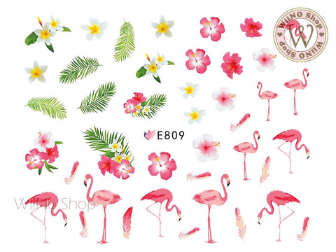 E809 Flamingo Summer Flower Adhesive Nail Art Sticker - 1 pc