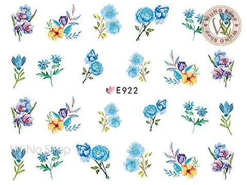 E922 Blue Watercolor Floral Adhesive Nail Art Sticker - 1 pc